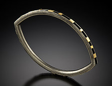 Elliptical Bracelet with Gold Rectangles by Lisa D'Agostino (Gold & Silver Bracelet)