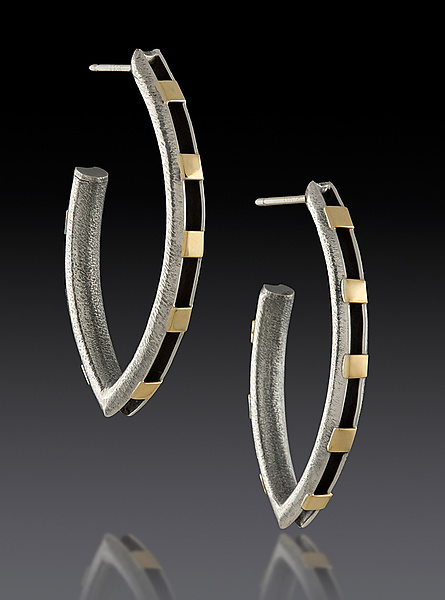 Elliptical Earrings with Gold Rectangles