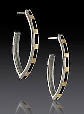Elliptical Earrings with Gold Rectangles by Lisa D'Agostino (Gold & Silver Earrings)