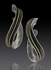 Formed Hoop Earrings with Gold Wire by Lisa D'Agostino (Gold & Silver Earrings)