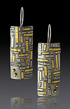 Rectangle Tile Drops in Gold and Silver by Lisa D'Agostino (Gold & Silver Earrings)