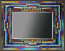 Blue Line by Thomas Meyers (Art Glass Mirror)
