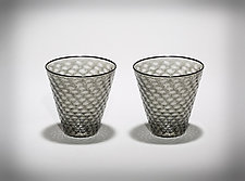 Faceted Rocks Glass - Gray with Black Rim by Michael  Hermann and Gina Lunn (Art Glass Tumblers)