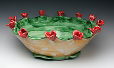 Red Flower Bowl by Peggy Crago (Ceramic Bowl)