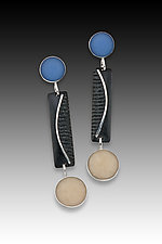 Dot Bar Dot Earring in Blue and Black by Eileen Sutton (Silver & Resin Earrings)