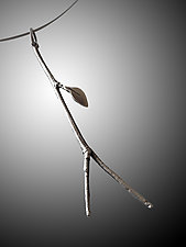 River Birch Twig Pendant with Leaf by Rone' Prinz (Silver Necklace)