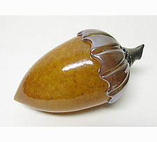 Topaz Acorn by Ken Hanson and Ingrid Hanson (Art Glass Sculpture)
