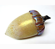Saffron Acorn by Ken Hanson and Ingrid Hanson (Art Glass Sculpture)