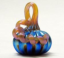 Miniature Silver Blue Pumpkin by Ken Hanson and Ingrid Hanson (Art Glass Sculpture)