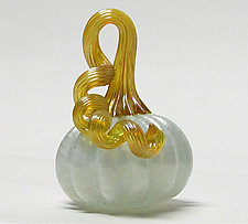 Miniature Opalescent Pumpkin by Ken Hanson and Ingrid Hanson (Art Glass Sculpture)