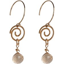 Sophie Gold Spiral Earrings with Champagne Quartz Gemstones by Tracy Arrington (Gold & Stone Earrings)