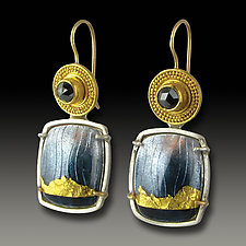Smoky Tuxedo Earrings by Jennifer Park (Gold, Silver, & Stone Earrings)