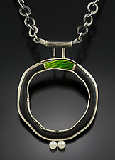 Green Bridge Circle Pendant by Jennifer Park (Enameled Necklace)