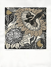 Sunflower Series, #54 by Ouida  Touchon (Woodcut Print)