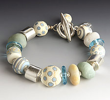 Aqua and Ivory Race Point Bracelet by Dianne Zack (Beaded Bracelet)