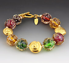 Florentine Bracelet in Golds by Dianne Zack (Beaded Bracelet)