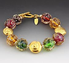 Florentine Bracelet in Golds by Dianne Zack (Beaded Bracelet)