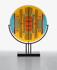 Amber/Turquoise Line Work by Lynn Latimer (Art Glass Sculpture)