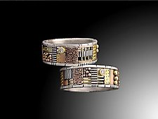 Silver and Gold Cutout Mosaic Ring with One Diamond by Lynda Bahr (Gold, Silver & Stone Ring)
