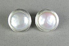 Pearl Button Classic Cufflinks by Julie Long Gallegos (Silver & Pearl Cuff Links)