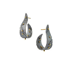 Bedrock Sprouts Hoops by Jenny Reeves (Gold & Silver Earrings)