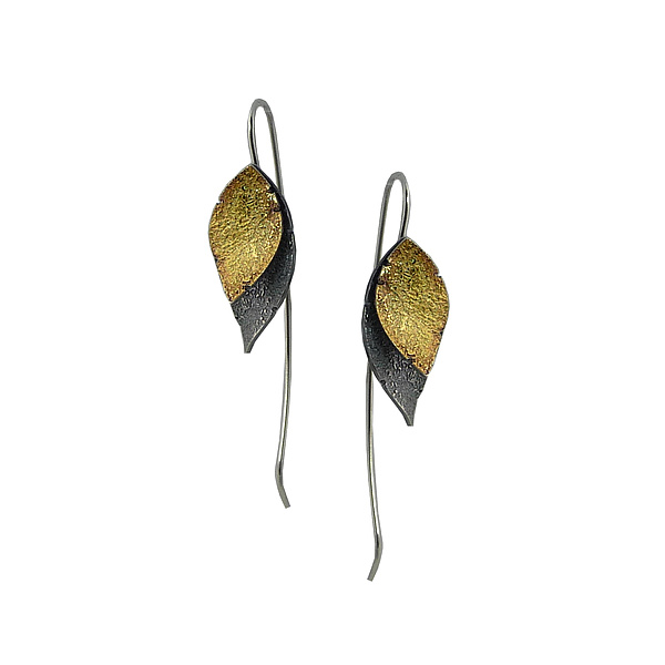Small Double Leaf Earrings-Gold