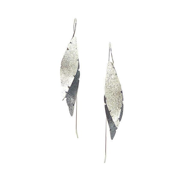 Long Double Leaf Earrings in Silver