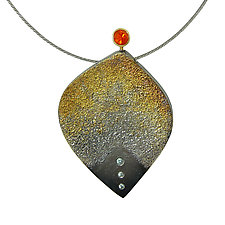Ombre Flame Pendant by Jenny Reeves (Gold, Silver, & Stone Necklace)