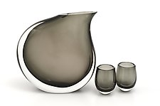 Pitcher Set in Gray by Marc Carmen (Art Glass Sculpture)