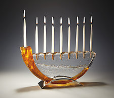 Saffron Shofar Menorah by Joel and Candace  Bless (Art Glass Menorah)