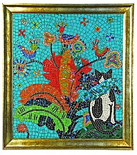 Ruth in the Leaves by Nancy Pollock (Mosaic Wall Sculpture)