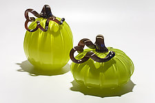 Lime Green Pumpkins by Michael Trimpol and Monique LaJeunesse (Art Glass Sculpture)