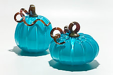 Turquoise Pumpkins by Michael Trimpol and Monique LaJeunesse (Art Glass Sculpture)