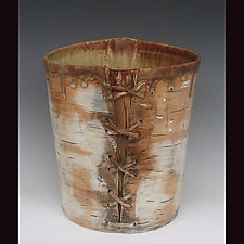 Birch Basketry with Lacing by Lenore Lampi (Ceramic Vessel)