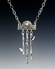 Bamboo Series Dangling Pendant by Marilee Nielsen (Silver & Pearl Necklace)