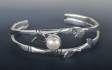 Bamboo Cuff with Pearl by Marilee Nielsen (Silver & Pearl Bracelet)