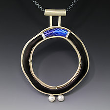 Royal Bridge Circle Pendant by Jennifer Park (Enameled Necklace)
