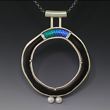 Turquoise Bridge Circle Pendant by Jennifer Park (Enameled Necklace)