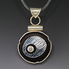 Gray Floating Circle Pendant by Jennifer Park (Enameled Necklace)