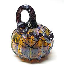 Gold with Black Vines Pumpkin by Ken Hanson and Ingrid Hanson (Art Glass Sculpture)