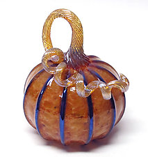 Small Harvest Pumpkin with Black Stripes by Ken Hanson and Ingrid Hanson (Art Glass Sculpture)