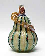 Saffron and Green Stripes Gourd by Ken Hanson and Ingrid Hanson (Art Glass Sculpture)