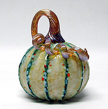 Saffron with Green Stripes Pumpkin by Ken Hanson and Ingrid Hanson (Art Glass Sculpture)
