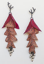 Pink Fuchsia Blossom Earrings by Carol Windsor (Silver & Paper Earrings)