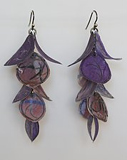 Purple Petal Flip Earrings by Carol Windsor (Silver & Paper Earrings)