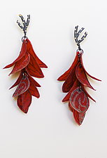 Crimson Flip Petal Earrings by Carol Windsor (Silver & Paper Earrings)