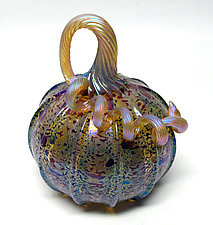 Leopard Pumpkin by Ken Hanson and Ingrid Hanson (Art Glass Sculpture)
