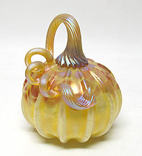 Iridescent Primrose Pumpkin by Ken Hanson and Ingrid Hanson (Art Glass Sculpture)