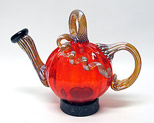Transparent Orange Pumpkin Teapot by Ken Hanson and Ingrid Hanson (Art Glass Teapot)