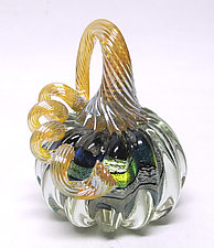 Small Clear Dichroic Glass Pumpkin by Ken Hanson and Ingrid Hanson (Art Glass Sculpture)